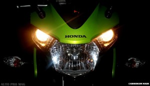 The CBR 150r headlights and twin pilot lights