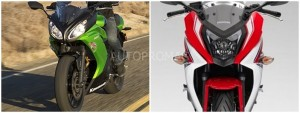 The Kawasaki Ninja 650r vs The Honda CBR 650 F Front