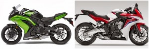 The 2014 Kawasaki Ninja 650r vs The 2014 Honda CBR 650 F Side